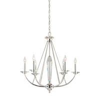 Palatial 6 Light 27 inch Chrome Chandelier Ceiling Light