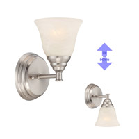 Designers Fountain 85101-SP Kendall 1 Light 5 inch Satin Platinum Wall Sconce Wall Light in Alabaster