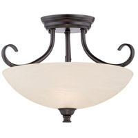 Kendall 2 Light 120 Oil Rubbed Bronze Semi-Flush Ceiling Light in Frosted