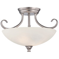 Kendall 2 Light 120 Satin Platinum Semi-Flush Ceiling Light in Alabaster