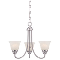 Kendall 3 Light 20 inch Satin Platinum Chandelier Ceiling Light in Alabaster