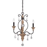 Designers Fountain Bella Maison 3 Light Chandelier in Distressed Ash 85383-DA
