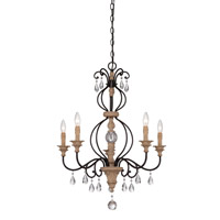 Bella Maison 5 Light 26 inch Distressed Ash Chandelier Ceiling Light