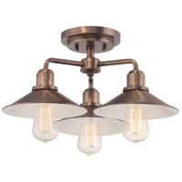 Newbury Station 3 Light 120 Old Satin Brass Semi-Flush Ceiling Light