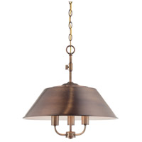 Designers Fountain Newbury Station 3 Light Inverted Pendant in Old Satin Brass 85431-OSB