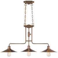 Newbury Station 3 Light 37 inch Old Satin Brass Island Pendant Ceiling Light