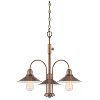 Newbury Station 3 Light 25 inch Old Satin Brass Chandelier Ceiling Light