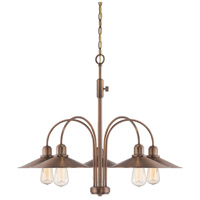 Newbury Station 5 Light 31 inch Old Satin Brass Chandelier Ceiling Light