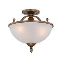 Isla 3 Light 120 Aged Brass Semi-Flush Ceiling Light