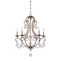 Gala 5 Light 25 inch Argent Silver Chandelier Ceiling Light