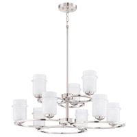 Omega 9 Light 32 inch Satin Platinum Chandelier Ceiling Light