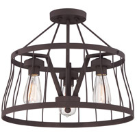 Designers Fountain 86811-BZ Brooklyn 3 Light 120 Bronze Semi-Flush Ceiling Light, Convertible to Pendant