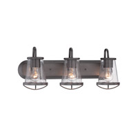 Darby 3 Light 24 inch Weathered Iron Bath Bar Wall Light