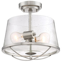 Darby 2 Light 12 inch Satin Platinum Semi-Flush Mount Ceiling Light