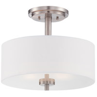 Harlowe 2 Light 120 Satin Platinum Semi-Flush Ceiling Light