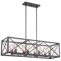High Line 8 Light 39 inch Satin Bronze Linear Chandelier Ceiling Light