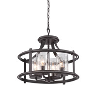 Designers Fountain 87511-APW Palencia 4 Light 120 Artisan Pardo Wash Semi-Flush Ceiling Light, Convertible to Pendant