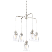 Echo 5 Light 23 inch Satin Platinum Chandelier Ceiling Light