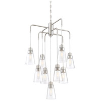 Echo 9 Light 25 inch Satin Platinum Chandelier Ceiling Light