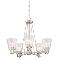 Printers Row 5 Light 24 inch Satin Platinum Chandelier Ceiling Light
