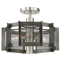 Baxter 3 Light Weathered Iron Semi-Flush Ceiling Light