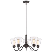 Designers Fountain 90285-SB Foundry 5 Light 27 inch Satin Bronze Chandelier Ceiling Light