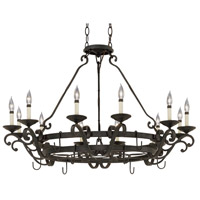 Barcelona 12 Light 42 inch Natural Iron Pot Rack Chandelier Ceiling Light