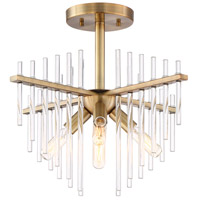 Reeve 4 Light 17 inch Burnished Antique Brass Semi-Flush Ceiling Light