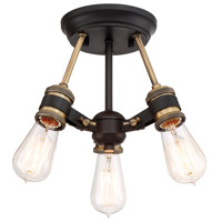 Miles 3 Light 13 inch Vintage Bronze Semi-Flush Mount Ceiling Light