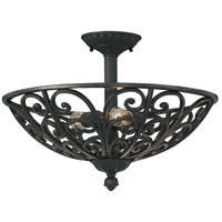 Alhambra 3 Light 21 inch Natural Iron Semi-Flush Ceiling Light