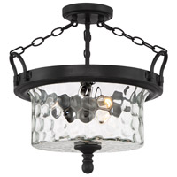 Amilla 3 Light 18 inch Natural Iron Semi-Flushmount Ceiling Light