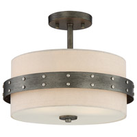 Garrett 2 Light 14 inch Weathered Iron Semi-Flushmount Ceiling Light