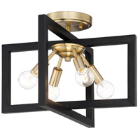 Xander 4 Light 15 inch Aged Warm Brass Semi-Flushmount Ceiling Light
