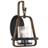 Ryder 1 Light 9 inch Forged Black with Oak Accents Wall Sconce Wall Light