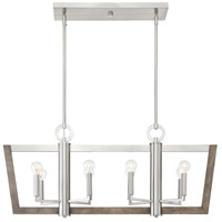Designers Fountain 93738-SP Westend 8 Light 37 inch Satin Platinum with Wood Accents Island Chandelier Ceiling Light