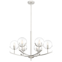 Designers Fountain 93886-SP Spyglass 6 Light 28 inch Satin Platinum Chandelier Ceiling Light