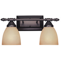 Apollo 2 Light 16 inch Oil Rubbed Bronze Bath Bar Wall Light in Amber Sandstone
