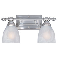 Apollo 2 Light 16 inch Satin Platinum Bath Bar Wall Light in Faux Alabaster
