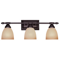 Apollo 3 Light 24 inch Oil Rubbed Bronze Bath Bar Wall Light in Amber Sandstone