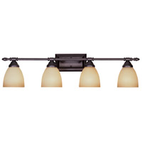 Apollo 4 Light 31 inch Oil Rubbed Bronze Bath Bar Wall Light in Amber Sandstone