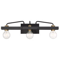 Ravella 3 Light 24 inch Black with Gold Accent Bath Bar Wall Light