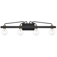 Ravella 4 Light 33 inch Black with Gold Accent Bath Bar Wall Light