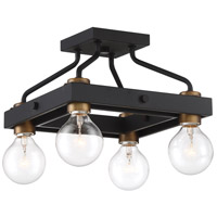 Ravella 4 Light 12 inch Black Semi-Flush Mount Ceiling Light