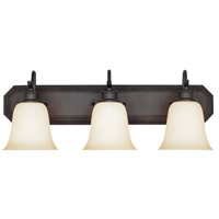 Montego 3 Light 24 inch Oil Rubbed Bronze Bath Bar Wall Light in Satin Bisque