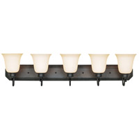 Montego 5 Light 37 inch Oil Rubbed Bronze Bath Bar Wall Light in Satin Bisque