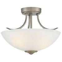 Montego 2 Light 120 Matte Pewter Semi-Flush Ceiling Light in Frosted