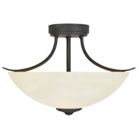 Montego 2 Light 120 Oil Rubbed Bronze Semi-Flush Ceiling Light in Satin Bisque