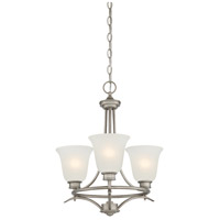Montego 3 Light 18 inch Matte Pewter Chandelier Ceiling Light in Frosted