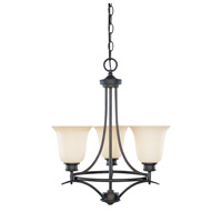 Montego 3 Light 18 inch Oil Rubbed Bronze Chandelier Ceiling Light in Satin Bisque
