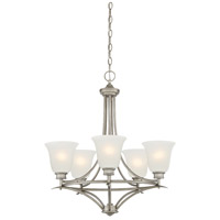 Montego 5 Light 24 inch Matte Pewter Chandelier Ceiling Light in Frosted